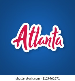 Atlanta - handwritten name of the city. Sticker with lettering in paper cut style. Atlanta capital city of the state of Georgia, US. Vector template.