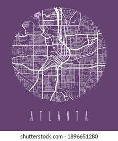 Atlanta map poster. Decorative design street map of Atlanta city. Cityscape aria panorama silhouette aerial view, typography style. Land, river, highways, avenue. Round circular vector illustration.