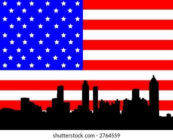Atlanta skyline against American flag