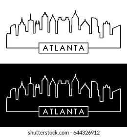 Atlanta skyline. Linear style. Editable vector file.