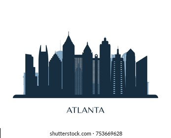 Atlanta skyline, monochrome silhouette. Vector illustration.