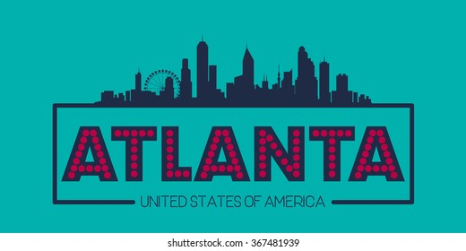 Atlanta skyline silhouette poster vector design illustration