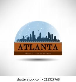 Atlanta, United States of America city skyline silhouette in snow globe. Vector design.