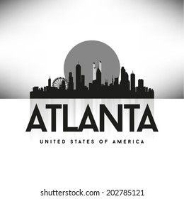 Atlanta United States of America skyline, vector illustration.