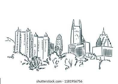 Atlanta USA sketch vector city