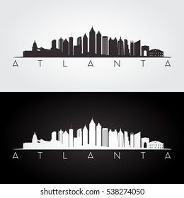 Atlanta USA skyline and landmarks silhouette, black and white design, vector illustration.