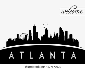 Atlanta USA skyline silhouette, black and white design, vector illustration