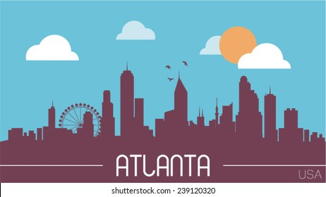 Atlanta USA skyline silhouette flat design vector illustration.