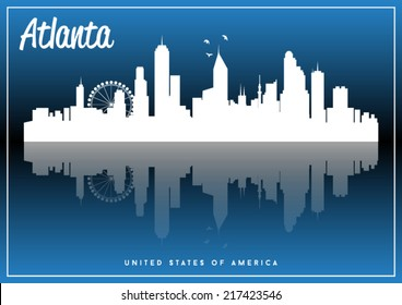 Atlanta, USA skyline silhouette vector design on parliament blue background.