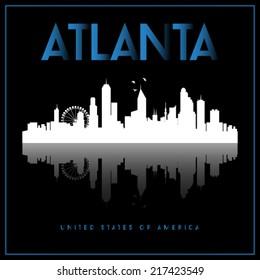 Atlanta, USA skyline silhouette vector design on black background.