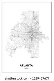 Atlanta Vector Map, Georgia, USA