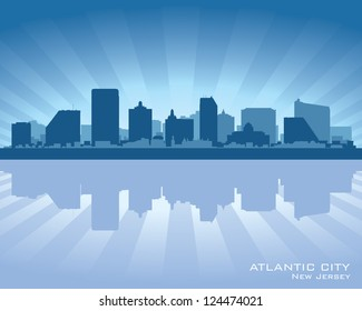 Atlantic City, New Jersey skyline silhouette. Vector illustration