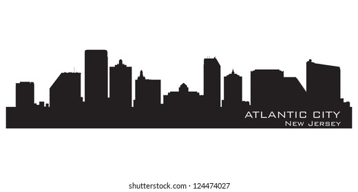 Atlantic City, New Jersey skyline. Detailed silhouette. Vector illustration