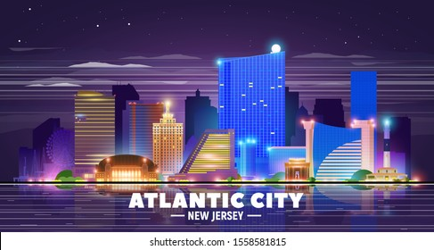 Atlantic City (New Jersey) skyline at night background. Flat vector illustration. Business travel and tourism concept with modern buildings. Image for banner or web site.