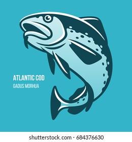 Atlantic Cod fish. Gadus Morhua. Blue outline vector illustration