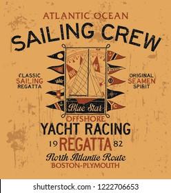 Atlantic ocean sailing crew yacht racing vector print for boy nautical wear grunge effect in separate layer
