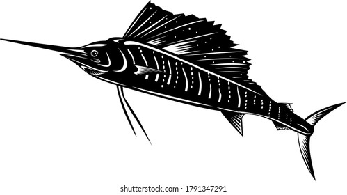 Atlantic Sailfish or Indo-Pacific Sailfish Jumping Up Retro Woodcut Black and White