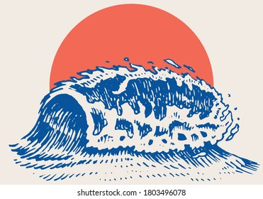 Atlantic tidal waves and red sun. Vintage old engraved hand drawn labels. Marine and nautical or sea, ocean in Japanese style for banner, background or poster. set of Isolated vector illustration.