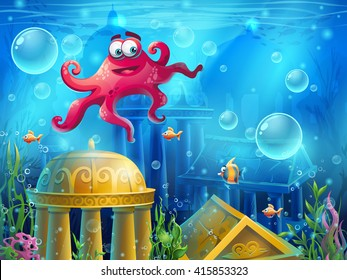 Atlantis ruins cartoon octopus - vector background  illustration screen to the computer game. Bright background image to create original video or web games, graphic design, screen savers.
