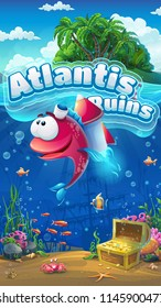 Atlantis Ruins GUI mobile format. Marine life landscape - the ocean and the underwater world with funny fish. For design websites and mobile phones, printing.