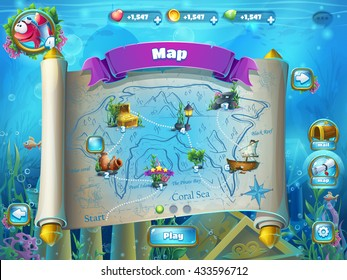 Atlantis ruins playing field - vector illustration level map screen to the computer game user interface. Background image to create original video or web games, graphic design, screen savers.