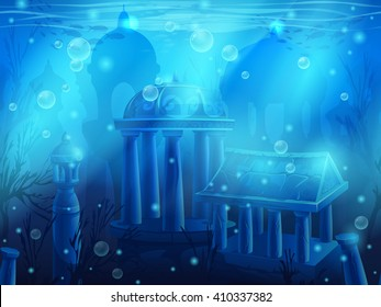 Atlantis. Seamless submerged underwater city, the ancient ruins of eastern. For newspapers, magazines, web design, websites, printing, video or web game.
