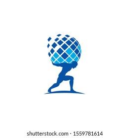 Atlas, Globe and Data logo / icon design