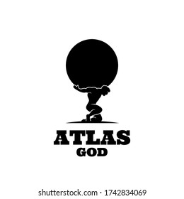 Atlas god lift globe black logo icon design illustration