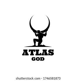 Atlas god lifting globe. black logo icon design illustration