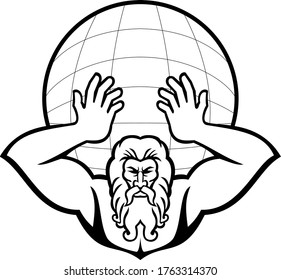 Atlas Holding Up World Front View Mascot Black and White