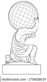 the atlas holds the earth on its shoulders. Image of a sculpture of Hercules. Stock vector illustration