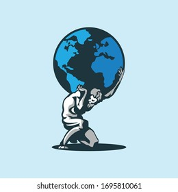 Atlas mythical god holding earth vector illustration