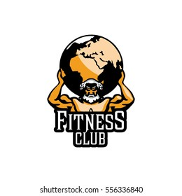 Atlas sign. Mighty Titan, holding on his shoulders the vault of heaven. Bodebilding fitness logo color