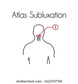 Atlas subluxation linear icon. Vector minimal illustration of young man with red atlas vertebra suffers from pain in the neck. Design template for medicine or therapy for rachiocampsis or backache
