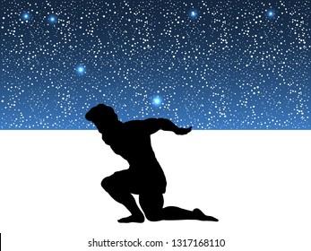 Atlas Titan god holds sky silhouette ancient mythology fantasy