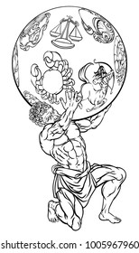 Atlas the titan from Greek mythology holding up the sky represented by star zodiac signs