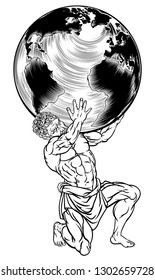 Atlas the titan from Greek mythology holding up the sky represented by a globe