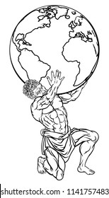 Atlas the titan from Greek mythology sentenced by the gods to hold up the sky represented by a globe