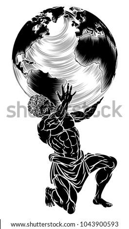 Atlas Titan Greek Mythology Symbol Strength Stock Vector Royalty