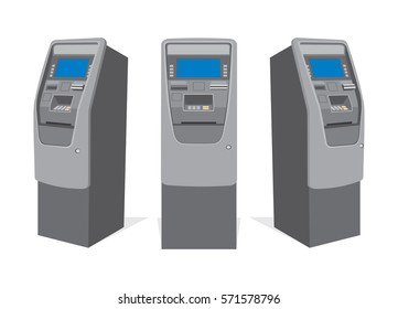 ATM bank cash machine on white background. Set of ATM machines from different sides. Isolated vector illustration