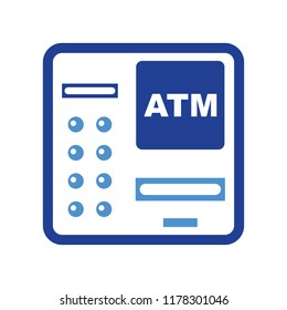 ATM bank machine with credit card isolated, bank teller, Vector money cash machine