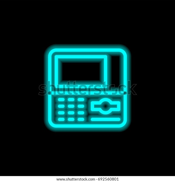 Atm blue glowing neon ui ux icon. Glowing sign logo vector