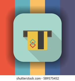 ATM card slot flat icon with long shadow, vector illustration
