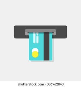 ATM credit card vector illustration, cash machine inserting credit card, electronic device, flat icon, modern simple design isolated on white red background
