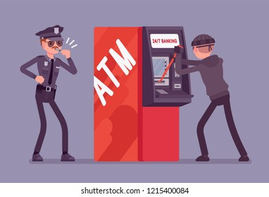 ATM hacking crime. Automated teller machine under a threat, attack by a criminal, masked man, police taking security protection measures against a fraud. Vector flat style cartoon illustration