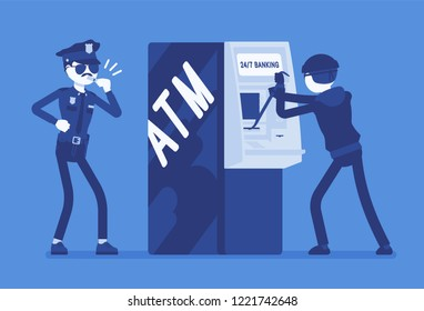 ATM hacking crime. Automated teller machine under a threat, attack by a criminal, masked man, police taking security protection measures against a fraud. Vector illustration with faceless characters