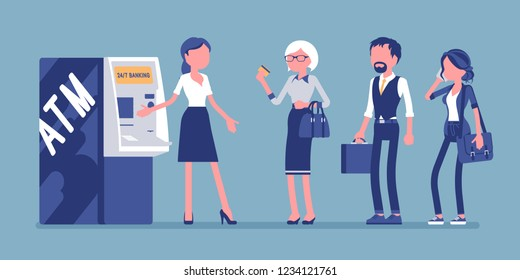 ATM line and female assistant helping clients. Consultant near automated teller machine for customers, electronic banking outlet, interactive terminal support. Vector illustration, faceless characters
