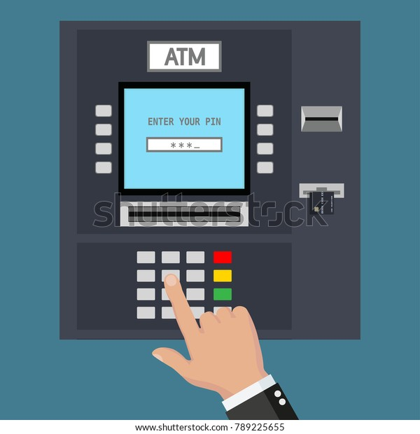 Atm Machine Hand Typing Pin Code Stock Vector (Royalty Free
