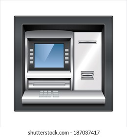 Atm machine isolated on white photo-realistic vector illustration
