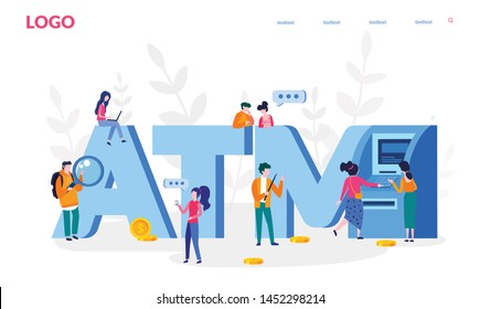 ATM machine,  perform financial transactions using ATM , vector illustration for web banner, print, infographics, mobile website. Landing page template. ATM word with people. assistant helping clients